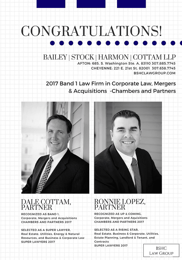 Congratulations to Dale Cottam and Ronnie Lopez. Dale was recognized as Band 1 (highest ranking) in the Corporate, Mergers, and Acquisition law categories, and Ronnie was recognized as Up & Coming in the Corporate, Mergers, and Acquisitions categories.